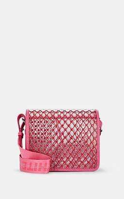 Off-White Women's Binder-Clip Small Leather-Trimmed Crossbody Bag - Pink