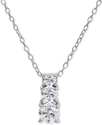 """Giani Bernini Cubic Zirconia Graduated 18"""" Pendant Necklace in Sterling Silver, Created for Macy's"""