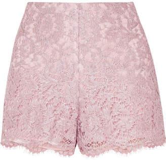 Valentino Scalloped Metallic Corded Lace Shorts - Lilac