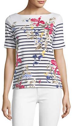 Karen Scott Petite Floral and Stripe Boatneck Top