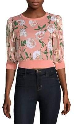 Alice + Olivia Brandy Floral Puff-Sleeve Crop Sweater