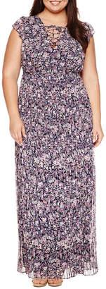 Boutique + Ashley Nell Tipton for + Sleeveless Laceup Maxi Dress - Plus