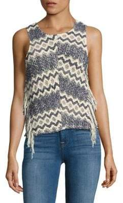 Ella Moss Fringed Open-Knit Top