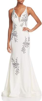 Avery G G Sleeveless Beaded Embroidered Gown