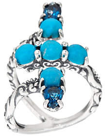 Carolyn Pollack Sterling Turquoise & Blue TopazWrap Ring