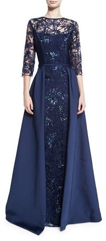 Rickie Freeman for Teri Jon 3/4-Sleeve Embellished Floral Tulle Ball Gown, Navy