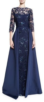 Rickie Freeman for Teri Jon 3/4-Sleeve Embellished Floral Tulle Ball Gown, Navy $780 thestylecure.com
