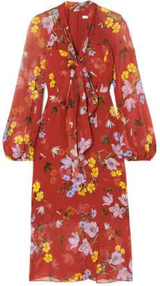 Erdem Tamaryn Pussy-bow Floral-print Silk-chiffon Dress - Brick