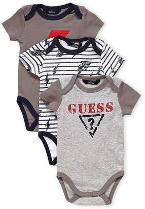 GUESS Newborn Boys) 3-Pack Logo Bodysuits Set