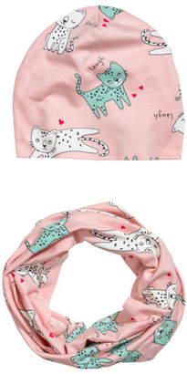 H&M Hat and Tube Scarf - Pink