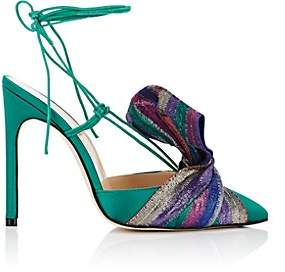 GIANNICO Women's Bow-Embellished Satin Sandals - Green