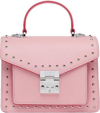 MCM Patricia Satchel Studded Outline Small Quartz Pink