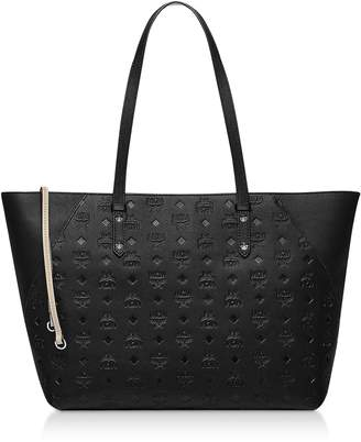 MCM Klara Monogrammed Leather Charm Top Zip Medium Shopper
