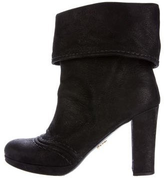prada Prada Leather Round-Toe Ankle Boots