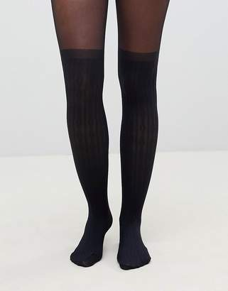 Asos DESIGN recycled cable over the knee tights with control top