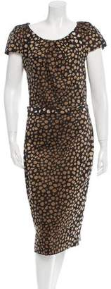Samantha Sung Polka Dot Scoop Neck Dress