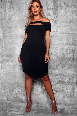 boohoo Plus Bardot Bodycon Midi Dress