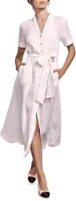 Amaio Swim Kamille Button-Down Short-Sleeve Linen Shirtdress