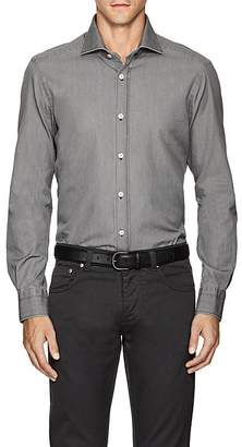 Kiton Men's Denim-Effect Cotton Twill Shirt
