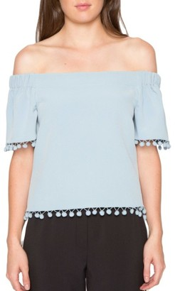 Women's Willow & Clay Pompom Off The Shoulder Top $79 thestylecure.com