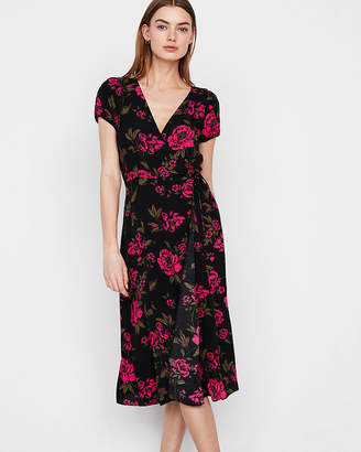 Express Floral Short Sleeve V-Neck Midi Dress