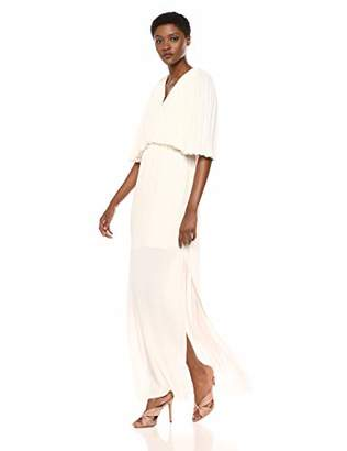 058f6676bf Halston Women s Flowy Pleated Sleeve V Neck Tie Back Gown