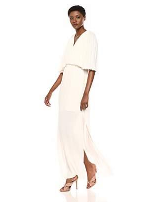 Halston Women's Flowy Pleated Sleeve V Neck Tie Back Gown, 2