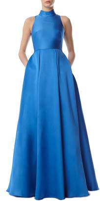 ML Monique Lhuillier Sleeveless High Neck Ballgown
