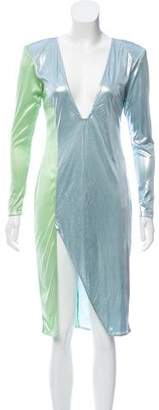 Baja East Long Sleeve Metallic Dress