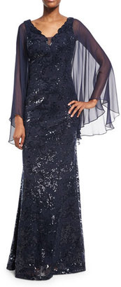Rickie Freeman for Teri Jon Cape-Sleeve Sequin Leaf Silk Gown, Blue $695 thestylecure.com