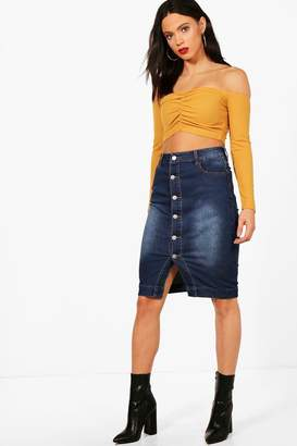 boohoo Tall Midi Length Denim Skirt