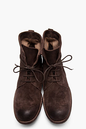 Officine Creative Brown Distressed Suede Shine Boots