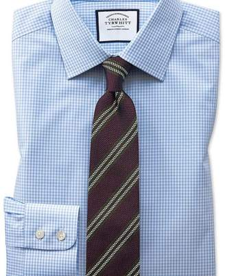 Charles Tyrwhitt Slim fit small gingham sky blue shirt