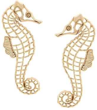 Oscar de la Renta seahorse clip earrings