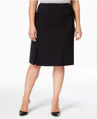 Kasper Plus Size Pinstriped Skirt