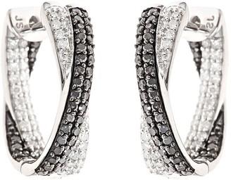 Affinity Diamond Jewelry Black & White Diamond Hoop Earrings, Sterling 1ct by Affinity
