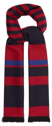 Bottega Veneta - Striped Wool Scarf - Mens - Navy Multi