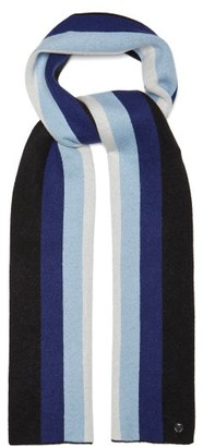 CHARLOTTE SIMONE Striped Wool And Cashmere Blend Scarf - Womens - Blue