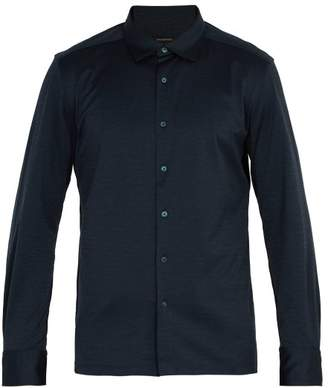 Ermenegildo Zegna Single Cuff Cotton Shirt - Mens - Blue