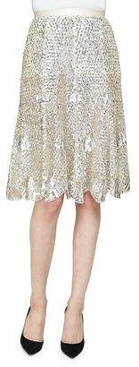 Derek Lam High-Waist Embellished Skirt, Silver $4,550 thestylecure.com