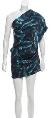 Lanvin Leaf Print One-Shoulder Dress