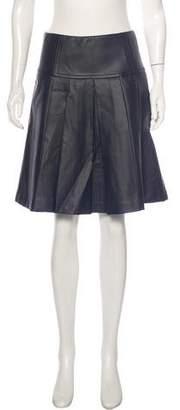 Michael Kors Faux-Leather Knee-Length Skirt