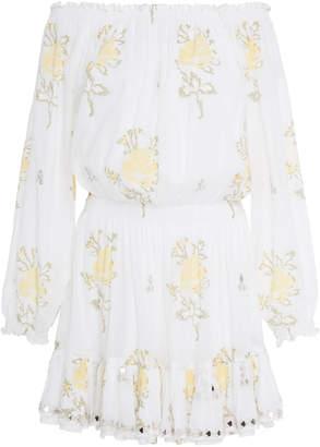 Juliet Dunn Off-The-Shoulder Floral-Print Mini Dress