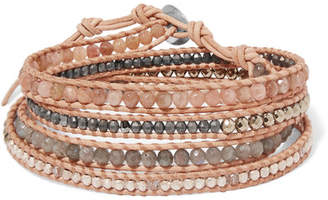 Chan Luu Leather And Gunmetal-plated Multi-stone Wrap Bracelet - Beige