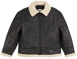Molo Huugo Leather Jacket w/ Sherpa Trim, Size 4-12