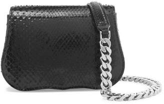 Calvin Klein Chain-trimmed Python Shoulder Bag - Black