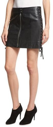 McQ Alexander McQueen Laced Paneled Leather Mini Skirt, Black $755 thestylecure.com