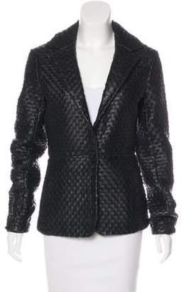 Sheri Bodell Leather Notch-Lapel Blazer