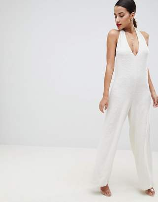 Asos Design DESIGN Halter Neck Jumpsuit In Textured Jersey
