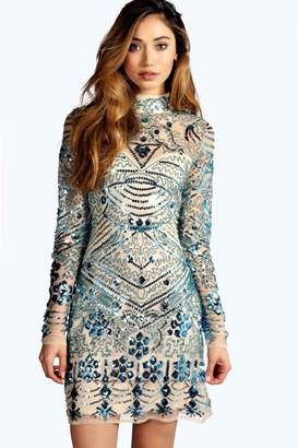boohoo Boutique Embellished High Neck Bodycon Dress